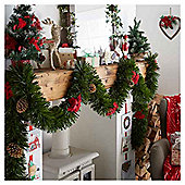 Green Christmas Tinsel with Poinsettia and Cones, 4m