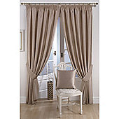 KLiving Pencil Pleat Ravello Faux Silk Lined Curtain 65x90 Inches Mink
