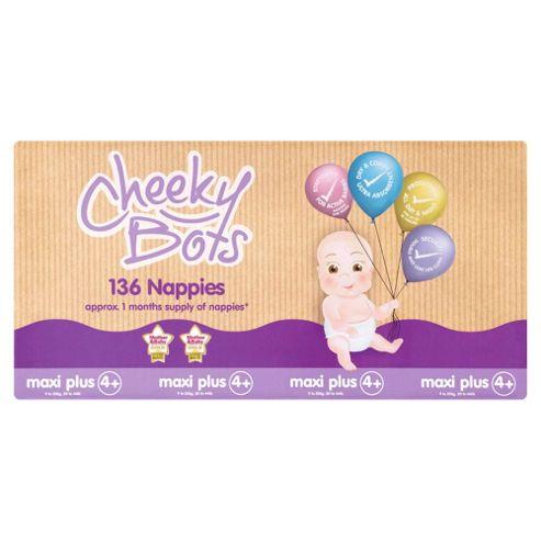 Tesco Cheeky Bots, Maxi Plus Size 4+, 136 Nappies