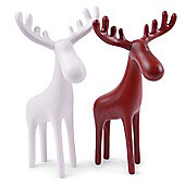 Pair of Standing Reindeer Elk Christmas Ornaments