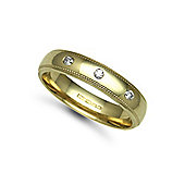 Jewelco London 18ct Yellow Gold 5mm Court Mill-Grain Diamond set 9pts Trilogy Wedding / Commitment Ring