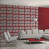 Muriva 3D Squares Wallpaper - Red
