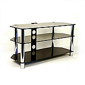800 mm. AV Rack with 2 Black Glass Shelves & Chrome Legs