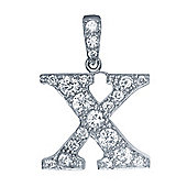Rhodium-Plated Sterling Silver Initial Identity Pendant Letter X