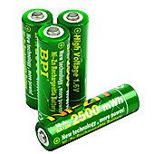 Nickel-Zinc AA Rechargeable Batteries 4-Pack
