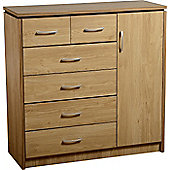 Charles 1 Door 6 (7) Drawer Chest Oak Finish with Walnut Trim