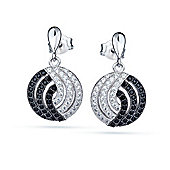 The REAL Effect Rhodium Plated Sterling Silver Black & White Cubic Zirconia Drop Earrings