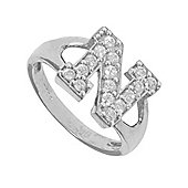Silver Cubic Zirconia Identity ID Initial Signet Ring Letter N