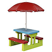 Kids Plastic Bench Set With Parasol