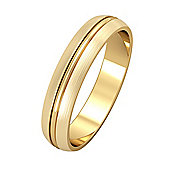 18ct Yellow Gold - 4mm Essential D-Shaped Single Rib and Satin Edged Band Commitment / Wedding Ring -