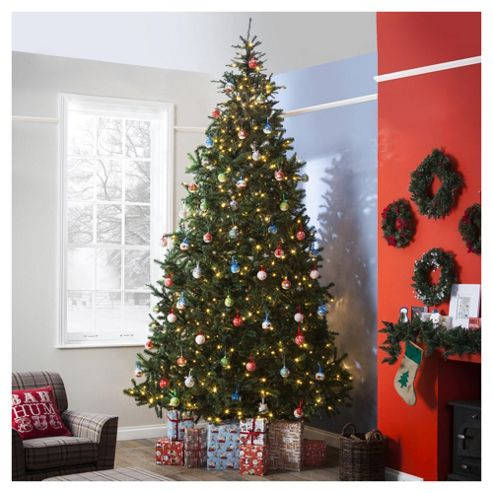 Festive Pre-Lit Colorado Spruce Christmas Tree With Warm White LED Lights, 12ft