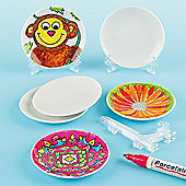 Mini Porcelain Plates & Stands for Children (Pack of 5)