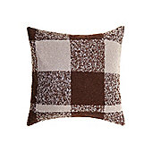 Linea Woven Check Cushion, Brown In Brown