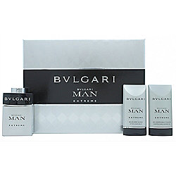 Bvlgari Man Extreme Gift Set 60ml EDT + 75ml Aftershave Balm + 75ml Shower Gel For Men