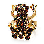 Amber Crystal Little Froggy Ring (Gold Tone)