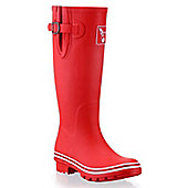 Evercreatures Ladies Wellies Solid Red With White Edging 8