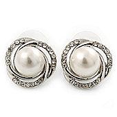 Classic Diamante, Pearl Stud Earring In Rhodium Plating - 17mm Diameter