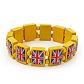 UK British Flag Union Jack Yellow Stretch Wooden Bracelet - up to 20cm length