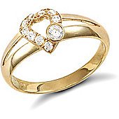 Jewelco London 9ct Solid Gold CZ set Heart design Ring