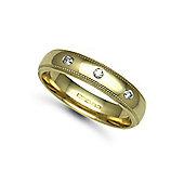 Jewelco London 18ct Yellow Gold 5mm Court Mill-Grain Diamond set 9pts Trilogy Wedding / Commitment Ring