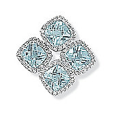 Jewelco London 9ct White Gold - Diamond & Blue Topaz - Charm Pendant -