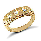 Jewelco London 9ct Solid Gold 3-stone baby Ring hand-set with CZ stones