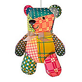 Children's Patchwork Teddy Bear Ceiling Pendant Light Shade in Multi Coloured