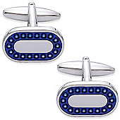 Blue Enamel Oblong Cufflinks - By Aston Brown