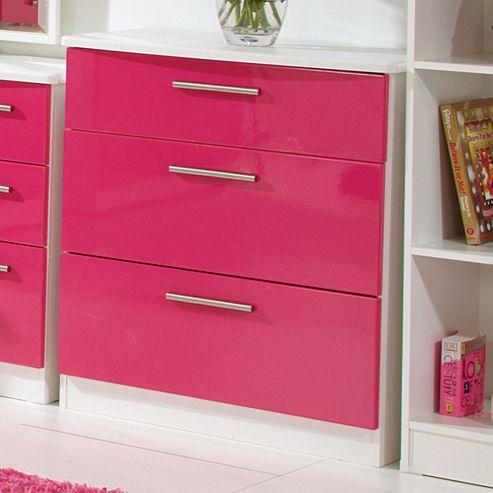 Welcome Furniture Knightsbridge 3 Drawer Chest - Walnut - Aubergine