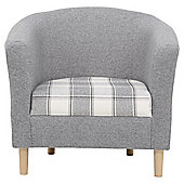 Tub Chair Fabric Pattern / Check Grey