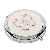 Pink Diamante Butterfly Compact Mirror