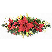 2.6ft Swag with Red Poinsettia