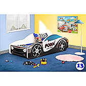 Toddler Car Bed and Mattress - Police (Small)