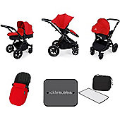 Ickle Bubba Stomp v3 AIO Travel System + Mosquito Net - Red (Black Chassis)