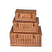 Wicker Valley Willow Rectangular Hamper (Set of 3)
