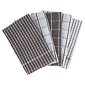 Check Terry Tea Towels, Taupe, 5 Pack