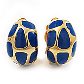 Small C-Shape Blue Enamel Clip On Earrings In Gold Plated Metal - 18mm Length