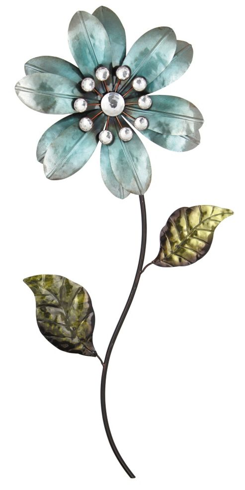 Pacific Lifestyle Flower with Stem and Leaves Metal Art