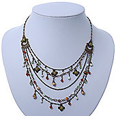 Vintage Inspired Multistrand Crystal, Freshwater Pearl, Acrylic Bead Necklace In Bronze Tone - 44cm Length/ 7cm Extension