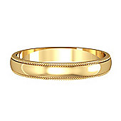Jewelco London 9ct Yellow Gold - 3mm Essential D-Shaped Mill Grain Edge Band Commitment / Wedding Ring -