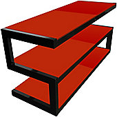 NORSTONE ESSE 3 SHELF AV RACK (BLACK FRAME/RED GLASS)