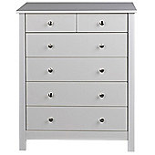 Valufurniture Florence White 4+2 Chest of Drawers