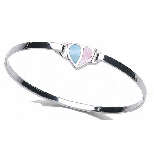 Jo For Girls Pink and Blue Mother of Pearl Heart Bangle (53mm)