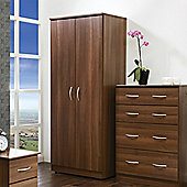 Welcome Furniture Avon Plain Midi Wardrobe - Walnut - 182.5cm H x 95.5cm W