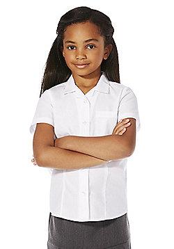 F&F School 2 Pack of Girls Easy Iron Revere Collar Short Sleeve Shirts - White