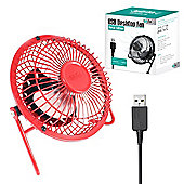 "Twitfish Metal USB Desk Fan 4"" - Red"