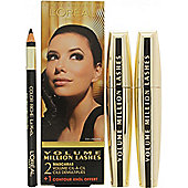 L'Oreal Volume Million Lashes Gift Set 2 x 9ml Mascara Black + Contour Khol Eyeliner Black