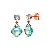 QP Jewellers Diamond & Blue Topaz Deflection Stud Earrings in 14K Rose Gold