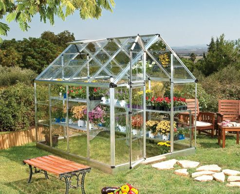 Palram Snap & Grow 6' x 8' - Silver Greenhouse - Polycarbonate and Aluminium Frame