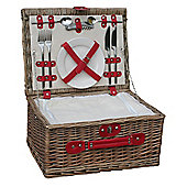 Wicker Valley 2 Person Chiller Hamper Picnic Basket - Red